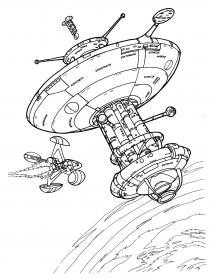 Большой корабль инопланетян Раскраски для детей мальчиков