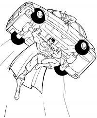Супермэн поднимает машину Раскрашивать раскраски для мальчиков