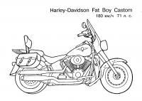 Harley davidson fat boy castom Распечатать раскраски для мальчиков