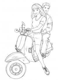 Парень с девушкой на скутере Распечатать раскраски для мальчиков