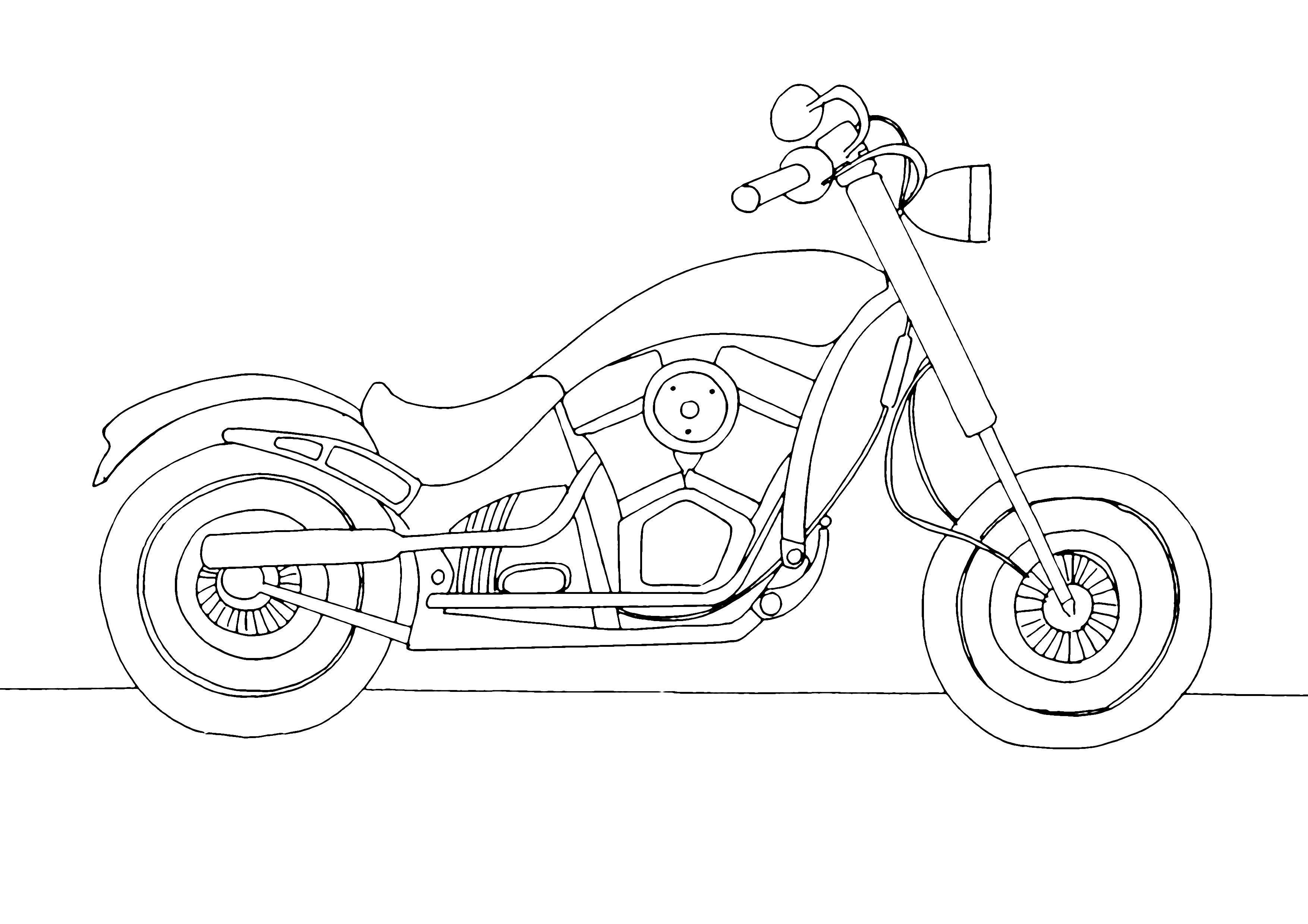 Раскраска мотоцикл Распечатать раскраски для мальчиков