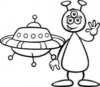 Космический корабль и инопланетянин Раскраски для мальчиков
