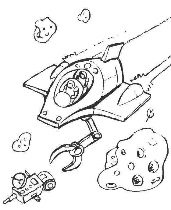 Космические корабли в полете Раскраски для мальчиков