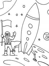 Космонавт приземлился на планету Раскраски для мальчиков