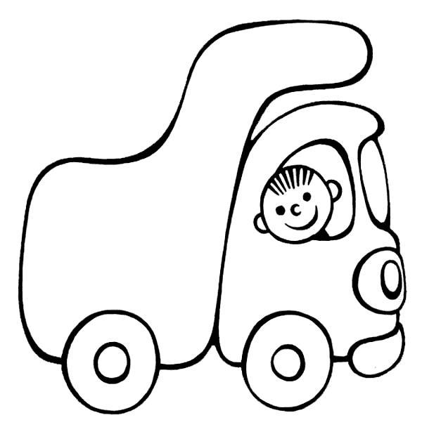 Грузовик с малышом Раскраски для мальчиков