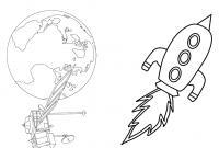 Ракета  земля и спутник Раскраски для детей мальчиков