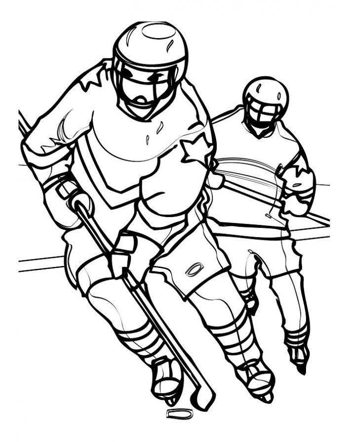 Хоккеисты играют Скачать раскраски для мальчиков