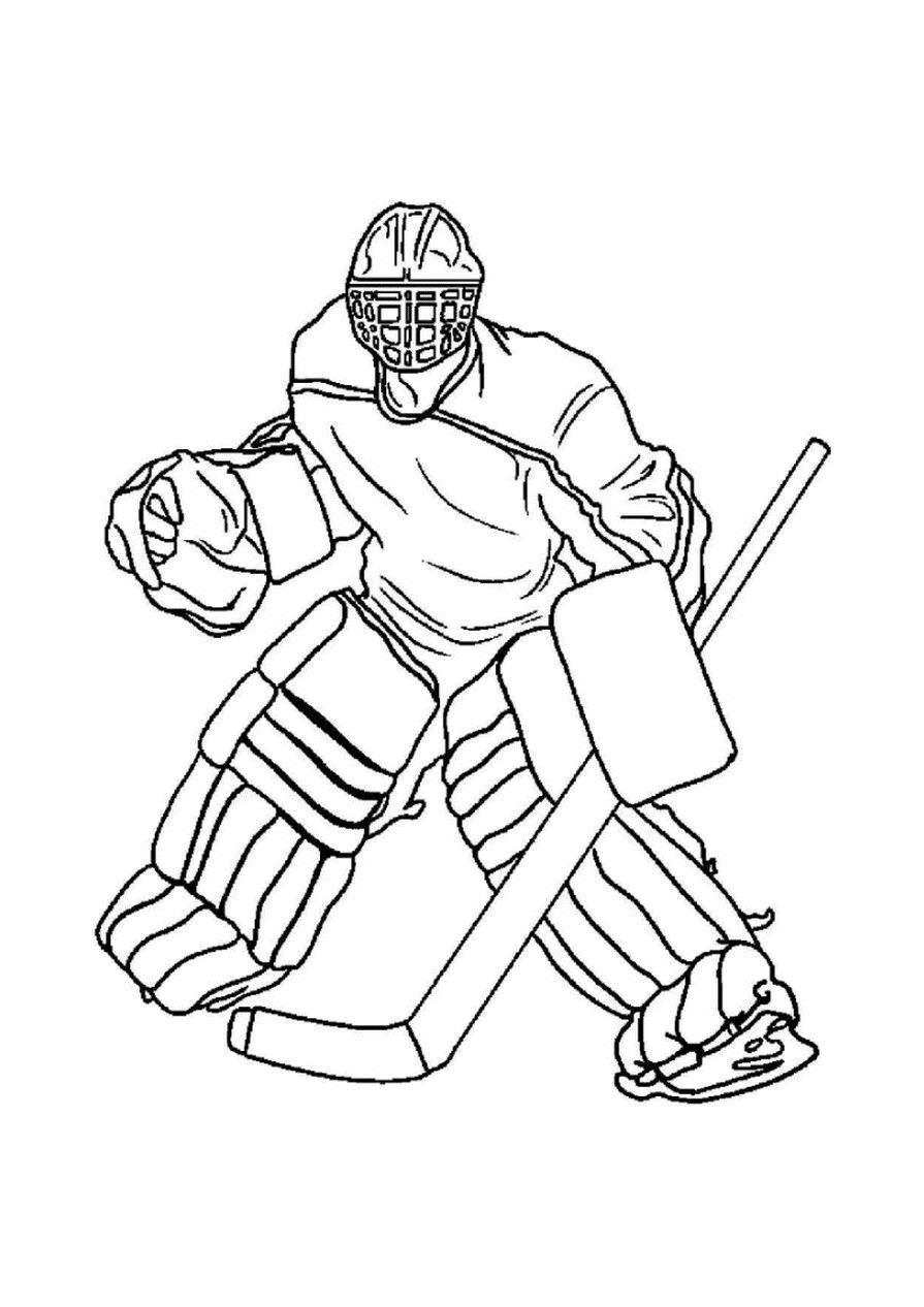 Вратарь хоккеист Скачать раскраски для мальчиков