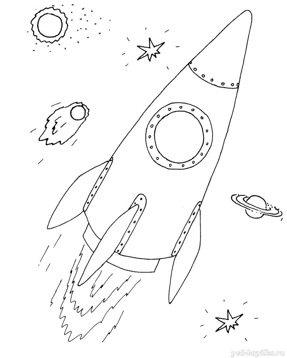 Ракета в космосе для мальчиков Раскраски для детей мальчиков