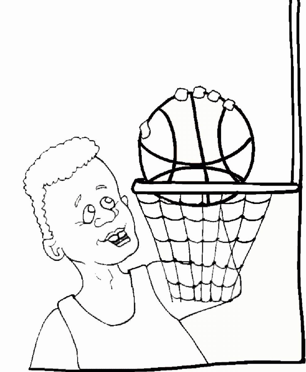 Баскетболист с мячом Раскрашивать раскраски для мальчиков