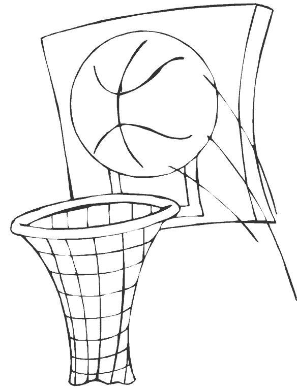 Баскетбольный мяч летит в кольцо Раскраски для мальчиков