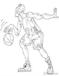 Баскетболист играет Раскраски для мальчиков