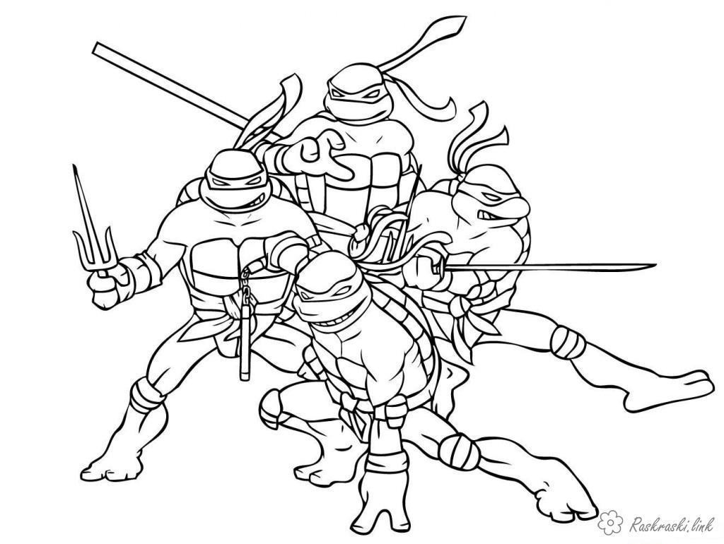 Черепашки ниндзя готовы к бою Раскрашивать раскраски для мальчиков