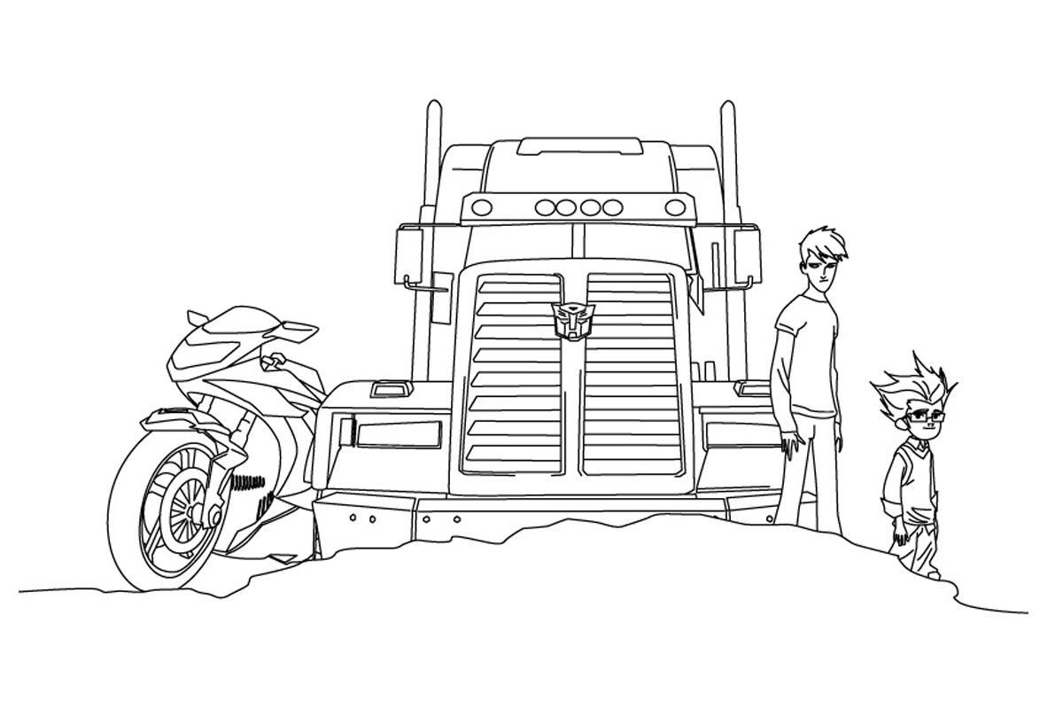 Грузовик мотоцикл и парни Раскраски для мальчиков