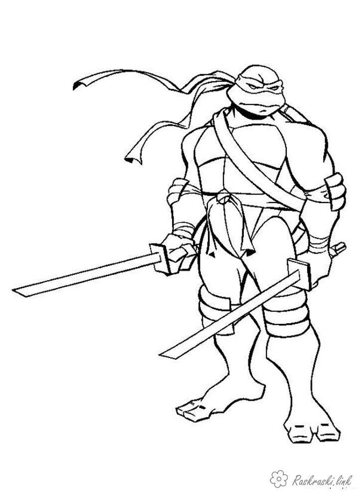 Черепашки ниндзя леонардо и мечи Раскраски для детей мальчиков