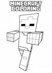 Майнкрафт робот шагает Раскрашивать раскраски для мальчиков