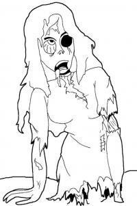 Зомби девушка без ног Распечатать раскраски для мальчиков