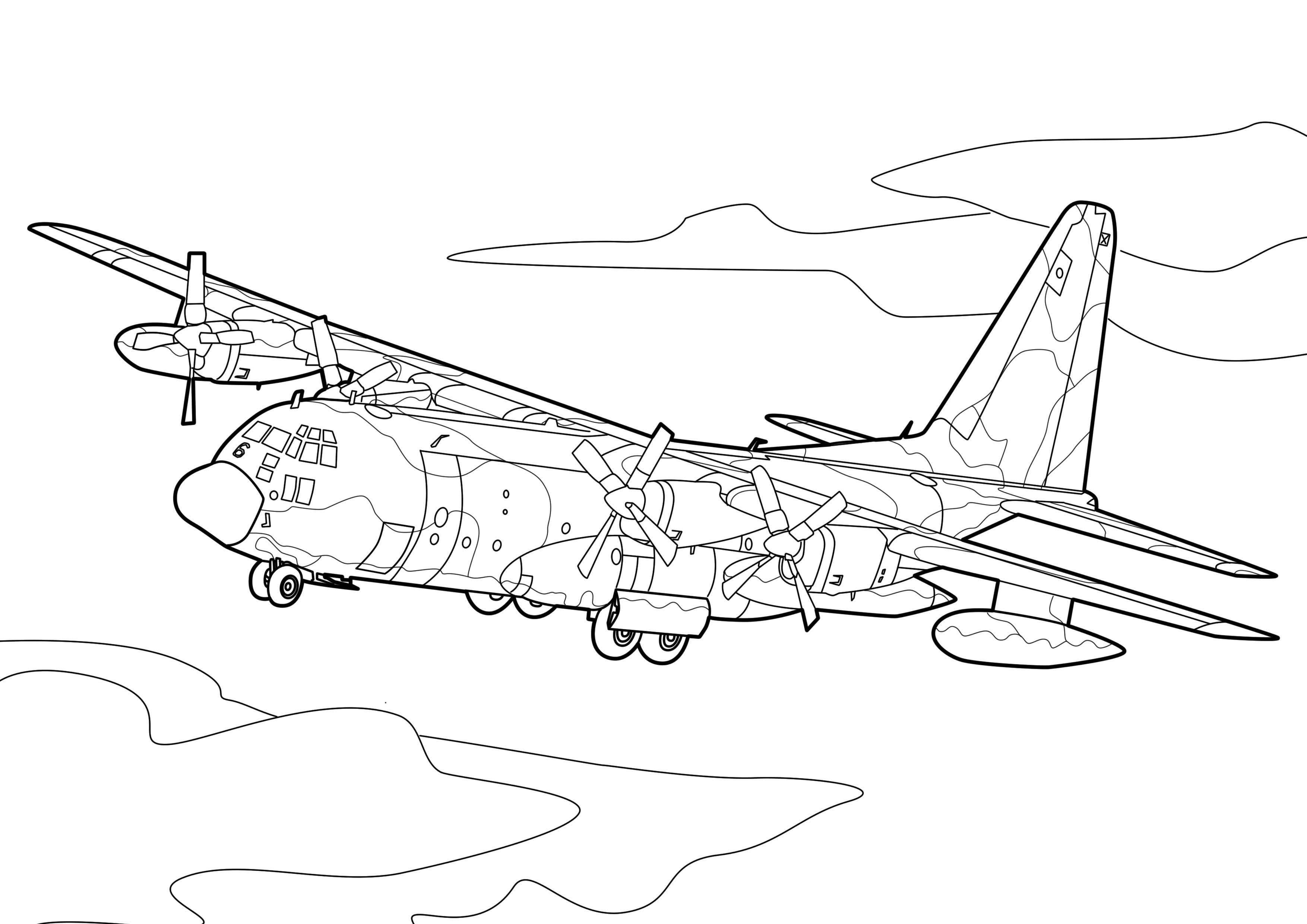 Бомбардировщик в небе Раскраски для детей мальчиков