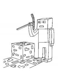 Майнкрафт золотодобытчик Скачать раскраски для мальчиков