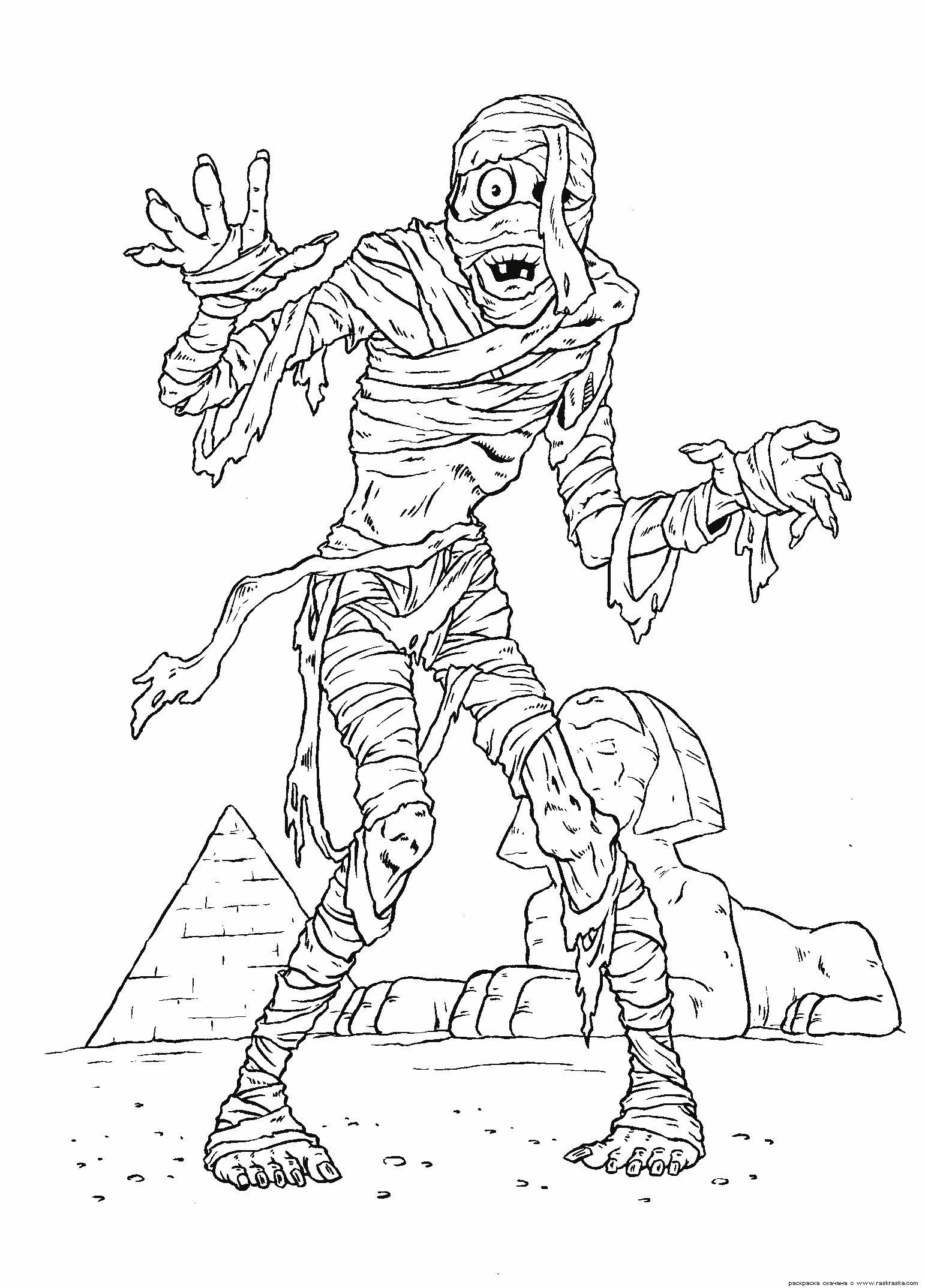 Зомби мумия Распечатать раскраски для мальчиков