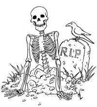 Скелет и ворона Распечатать раскраски для мальчиков