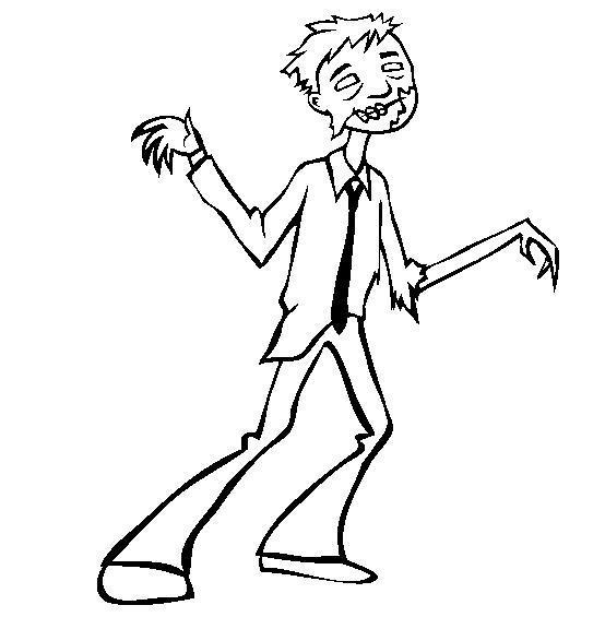Зомби в рубашке и галстуке Распечатать раскраски для мальчиков