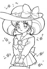 Аниме девушка в шляпе Раскраски для мальчиков
