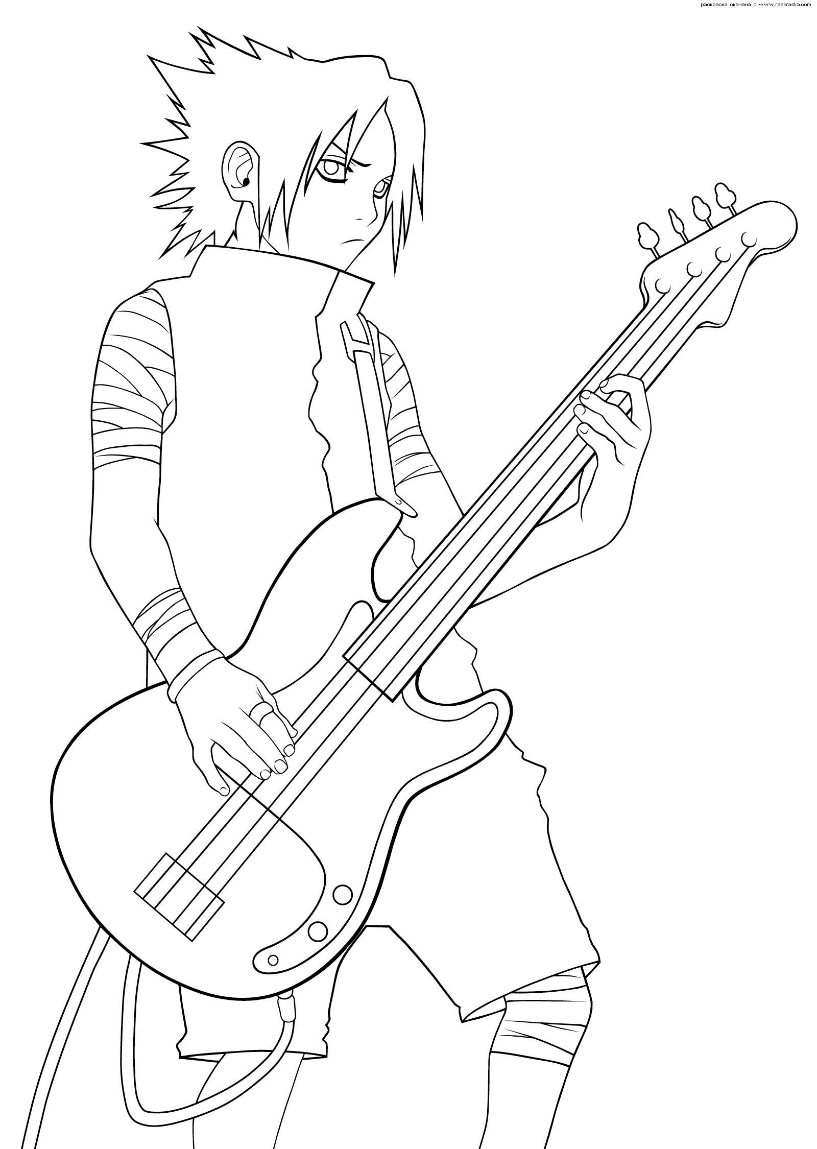 Аниме гитарист Раскраски для мальчиков