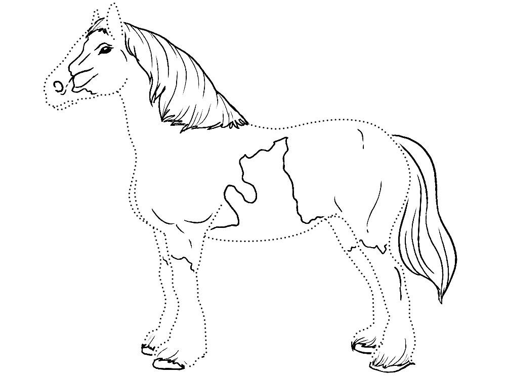 лошади ферме раскраски на