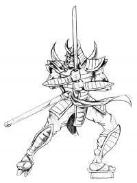 Самурай с мечом Раскраски для мальчиков бесплатно