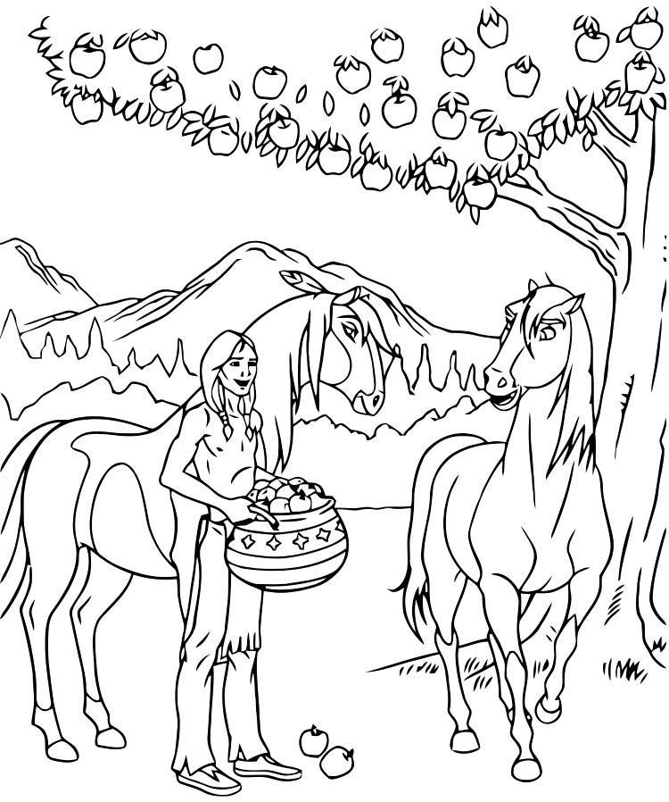 Девушка лошади и дерево Раскрашивать раскраски для мальчиков