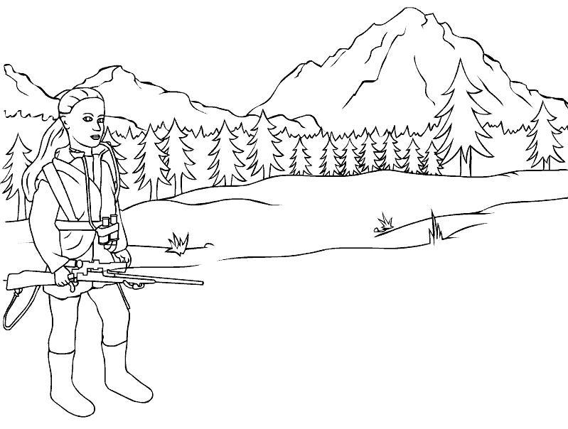 Охотница с винтовкой Раскраски для мальчиков