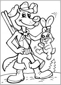Шарик поймал зайца Раскраски для мальчиков