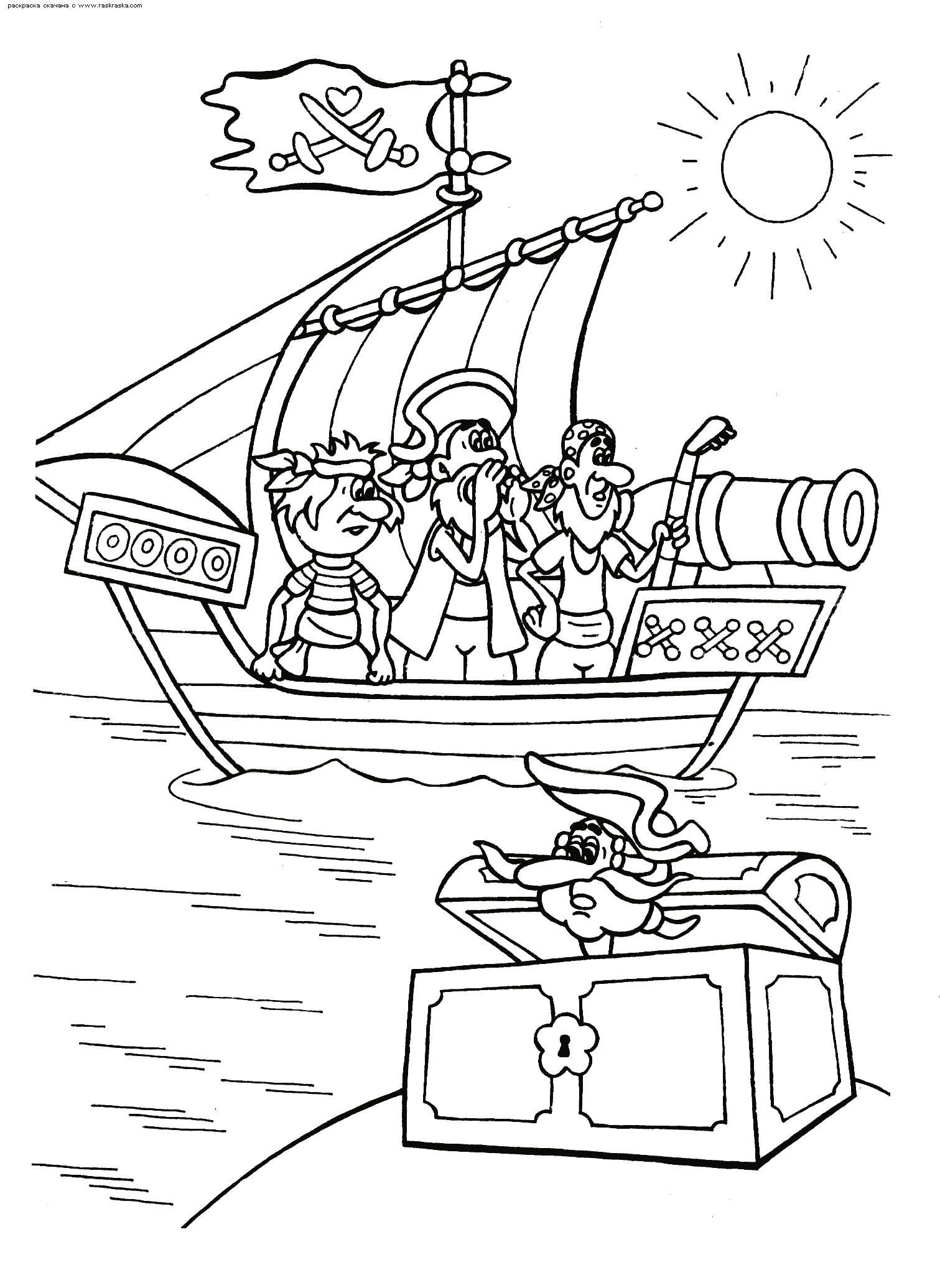Море и корабль раскраска