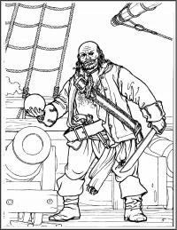 Пушка и пират на корабле Раскрашивать раскраски для мальчиков