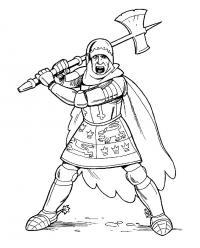 Рыцарь с топором Раскраски для мальчиков бесплатно