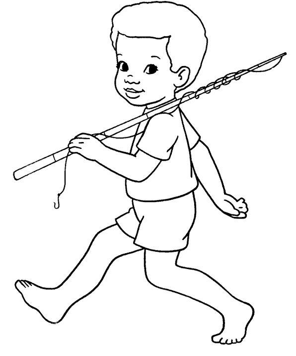 Мальчик идет на рыбалку Раскраски для мальчиков