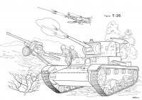 Т-26 танк Раскрашивать раскраски для мальчиков