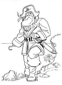 Бородатый пират с ножом Раскраски для детей мальчиков