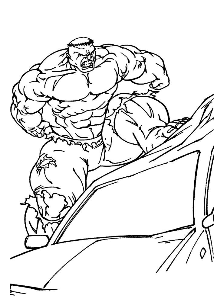 Халк наступил на машину Раскрашивать раскраски для мальчиков
