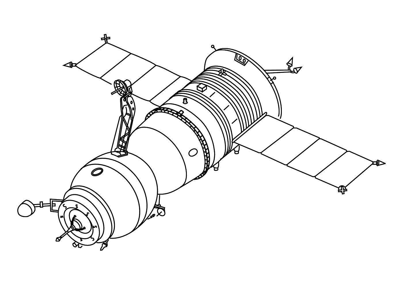 Спутник летает в космосе Скачать раскраски для мальчиков