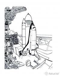 Шаттл перед запуском Скачать раскраски для мальчиков