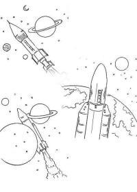 Спутники и ракеты Скачать раскраски для мальчиков