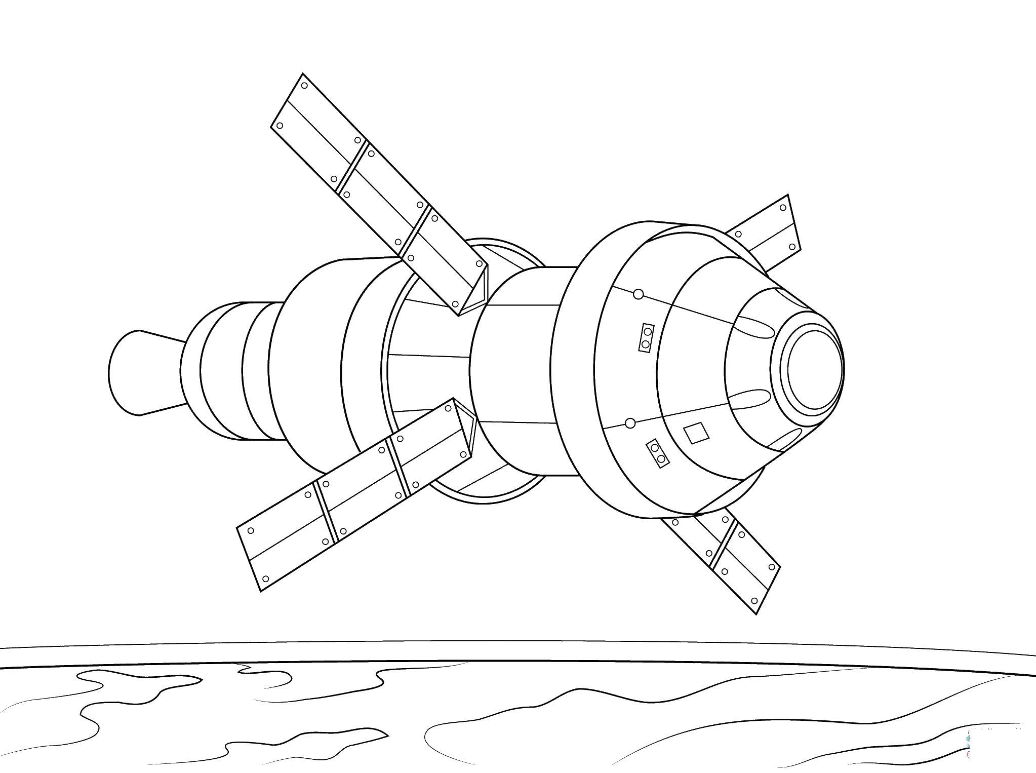 Спутник облетает землю Скачать раскраски для мальчиков