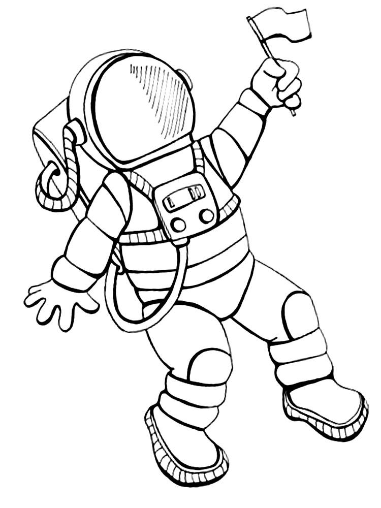 Космонавт с флажком Распечатать раскраски для мальчиков