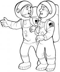 Два космонавта Распечатать раскраски для мальчиков