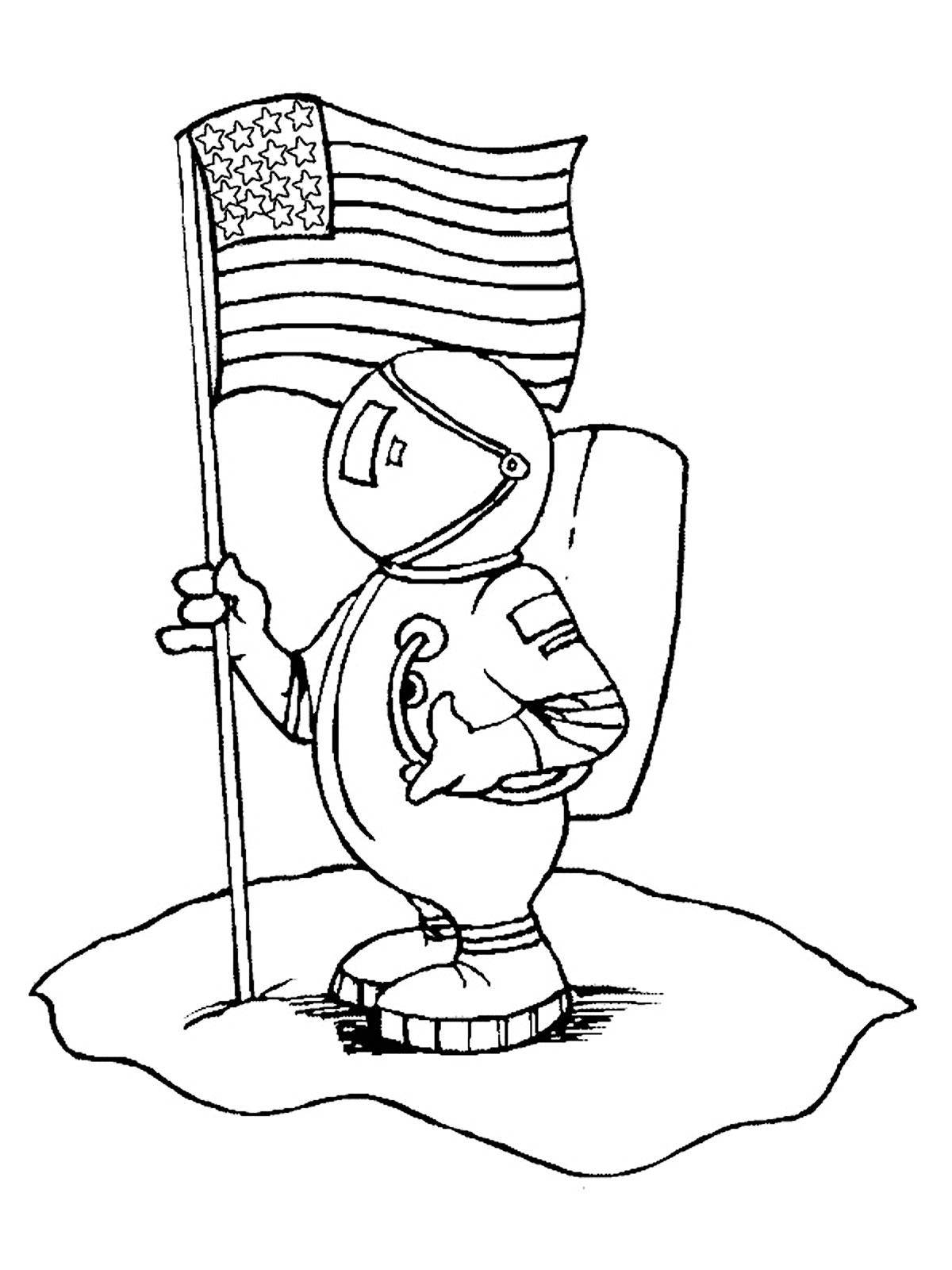 Американский космонавт с флагом своей родины Распечатать раскраски для мальчиков
