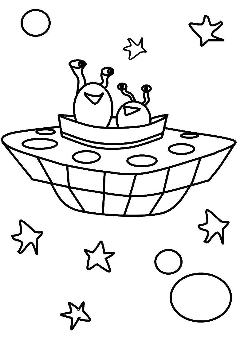 Два инопланетянина в летающей тарелке Раскрашивать раскраски для мальчиков