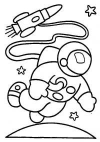 Космонавт исследует космос Раскрашивать раскраски для мальчиков