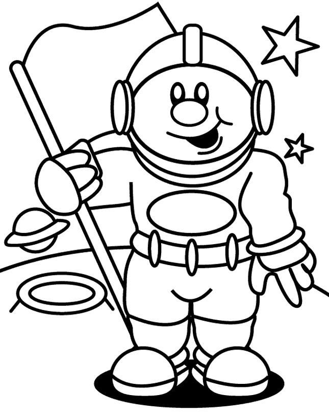 Космонавт и флажок Раскрашивать раскраски для мальчиков